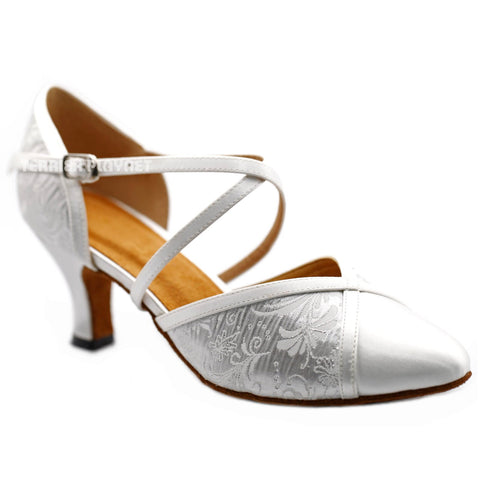 White & Silver Women Dance Shoes D1198 UK5.5/US8/EU39 2.5 Inches/6.25cm Heel