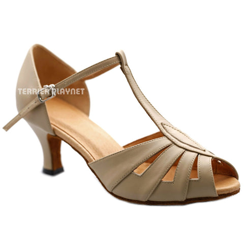 High Quality Flesh Leather Women Dance Shoes D1201 UK5.5/US8/EU39 2 Inches / 5cm Heel