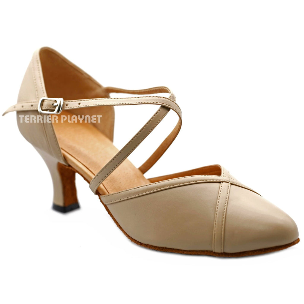 High Quality Flesh Leather Women Dance Shoes D1203 UK5.5/US8/EU39 2.5 Inches/6.25cm Heel
