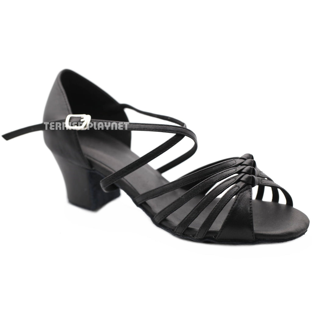 High Quality Black Leather Women Dance Shoes D1205 UK5.5/US8/EU39 2 Inches/5cm Block Heel - Terrier Playnet Shop