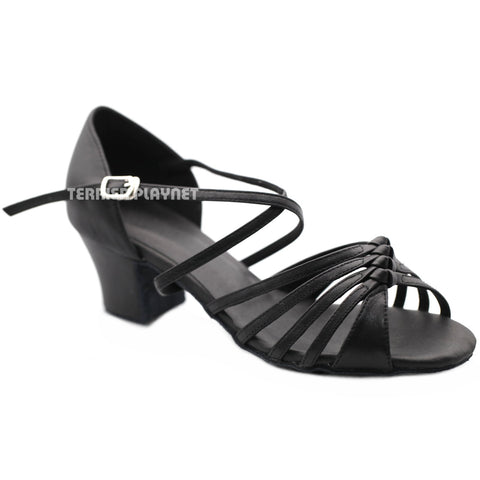 High Quality Black Leather Women Dance Shoes D1205