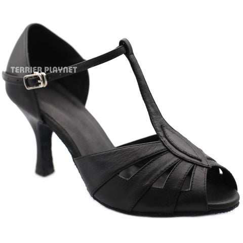 High Quality Black Leather Women Dance Shoes D1207 UK4.5/US7/EU37.5 2.5 Inches / 6.25cm Heel