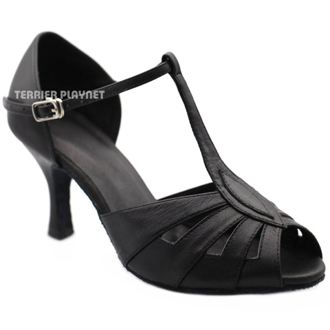 High Quality Black Leather Women Dance Shoes D1207
