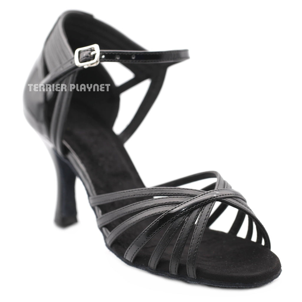 Black Women Dance Shoes D1208 UK5.5/US8/EU39 3 Inches/7.5cm Heel - Terrier Playnet Shop