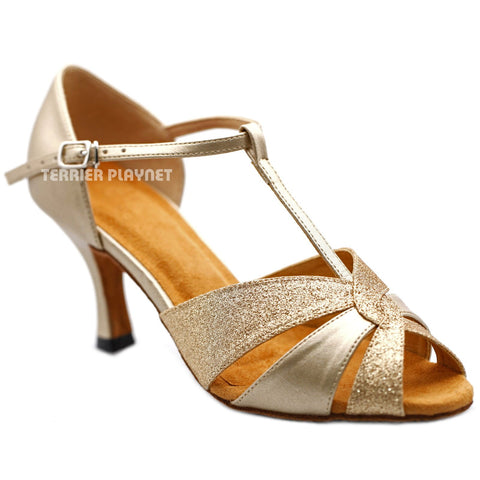 Champagne Gold Women Dance Shoes D1209 UK3.5/US6/EU36 3 Inches / 7.5cm Heel