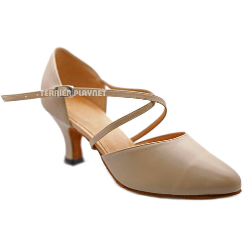 High Quality Flesh Leather Women Dance Shoes D1214