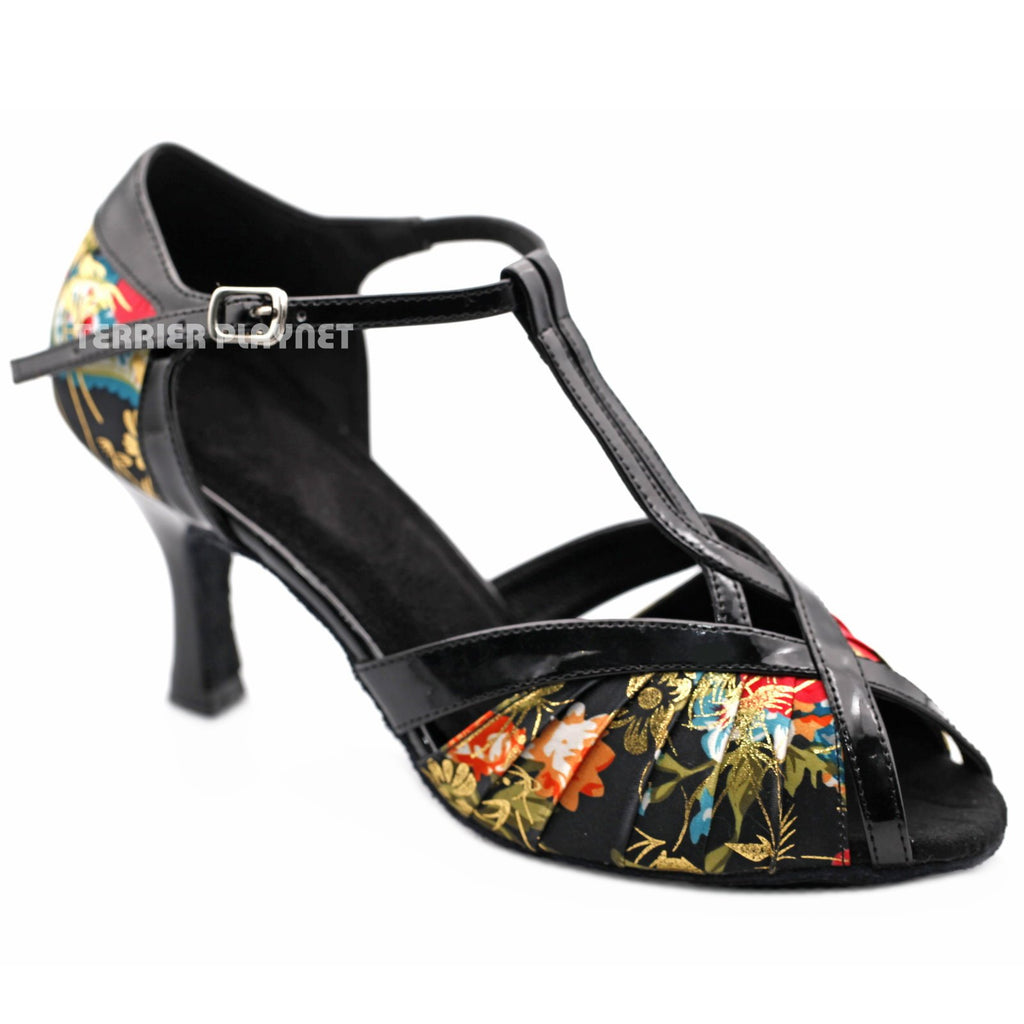 Black & Multi-Colour Flower Pattern Women Dance Shoes D1218 UK6/US8.5/EU39.5 3 Inches/7.5cm Heel - Terrier Playnet Shop