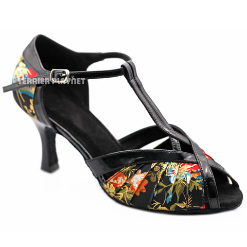 Black & Multi-Colour Flower Pattern Women Dance Shoes D1218