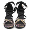 Black Embroidered Women Dance Shoes D1220 - Terrier Playnet Shop