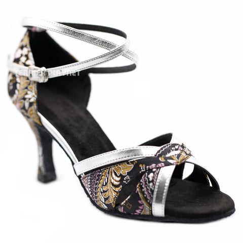 Black & Silver Embroidered Women Dance Shoes D1221 UK5/US7.5/EU38 3 Inches / 7.5cm