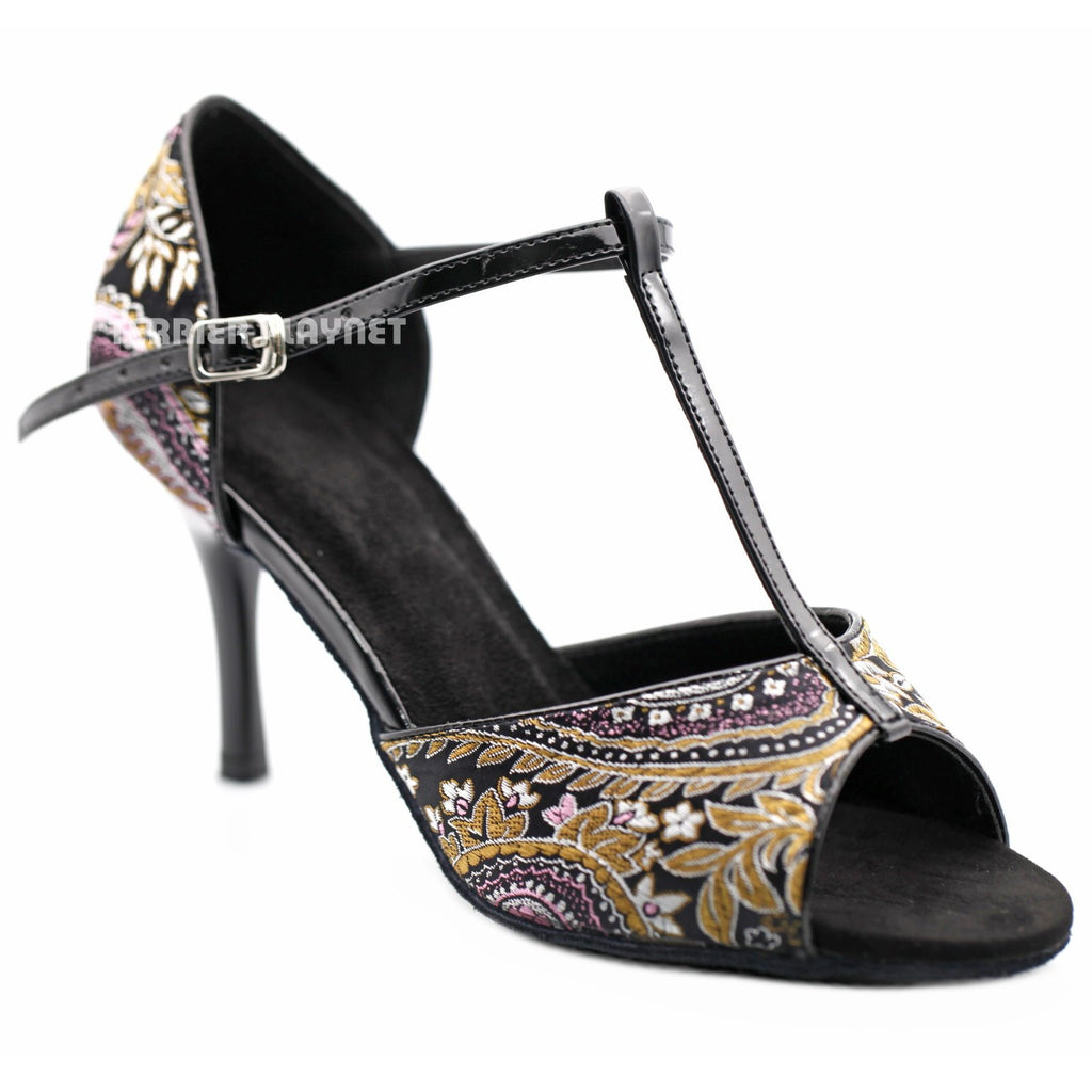 Black Embroidered Women Dance Shoes D1222 UK5/US7.5/EU38 3.35 Inches / 8.5cm - Terrier Playnet Shop