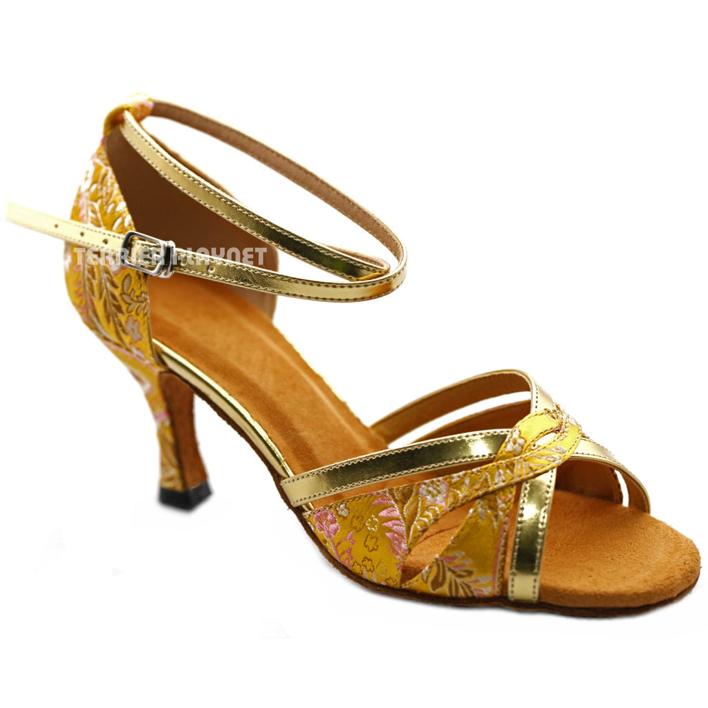 Golden Yellow Embroidered Women Dance Shoes D1224 UK5/US7.5/EU38 3 Inches / 7.5cm - Terrier Playnet Shop