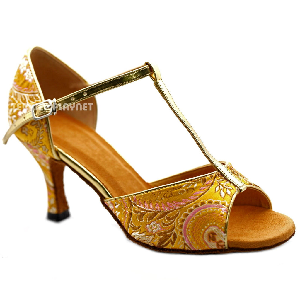 Golden Yellow Embroidered Women Dance Shoes D1225 UK5/US7.5/EU38 3 Inches / 7.5cm - Terrier Playnet Shop