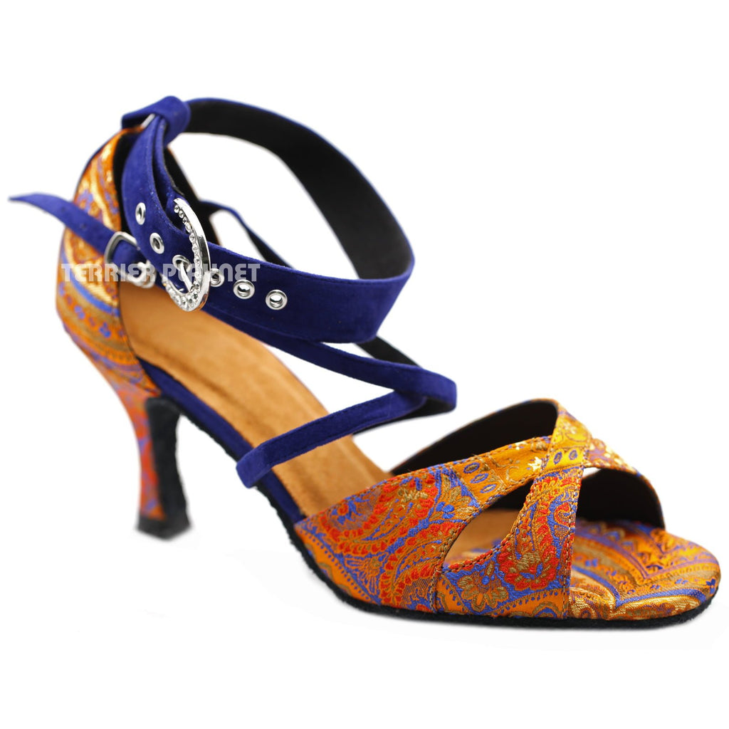 Blue & Orange Embroidered Women Dance Shoes D1227 UK5/US7.5/EU38 3 Inches / 7.5cm - Terrier Playnet Shop