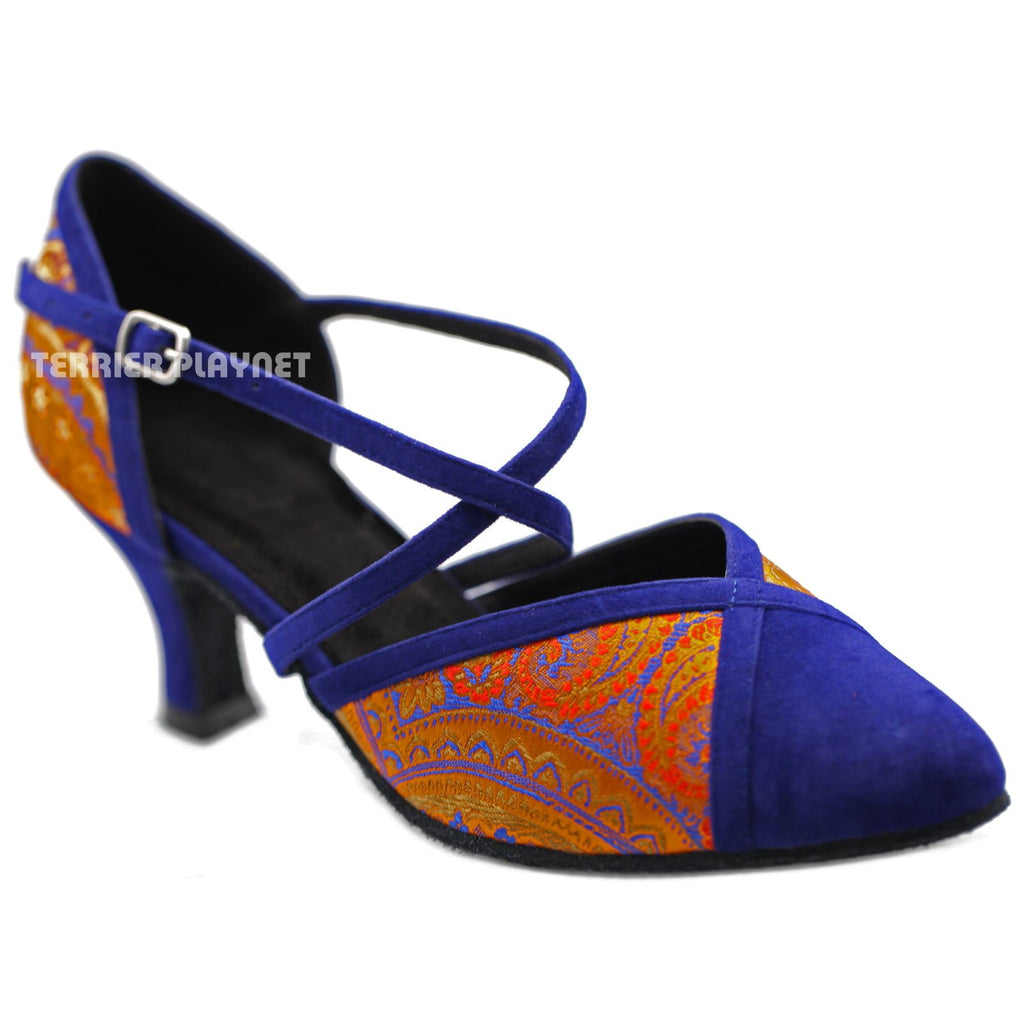 Blue & Orange Embroidered Women Dance Shoes D1228 UK5/US7.5/EU38 3 Inches / 7.5cm - Terrier Playnet Shop