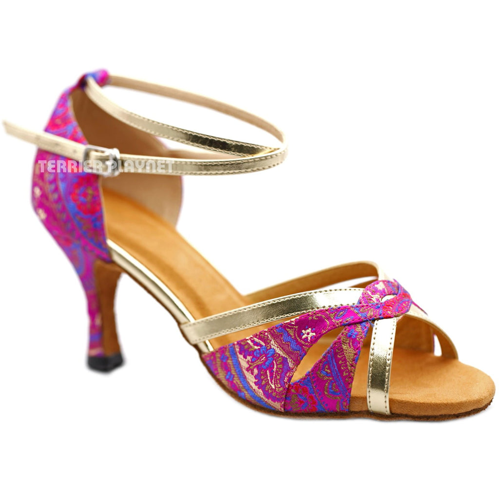 Light Gold & Hot Pink Embroidered  Women Dance Shoes D1229 UK5.5/US8/EU39 2.5 Inches / 6.25cm - Terrier Playnet Shop