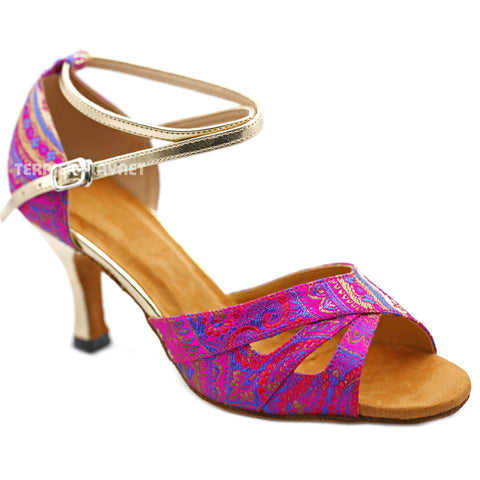 Light Gold & Hot Pink Embroidered Women Dance Shoes D1230