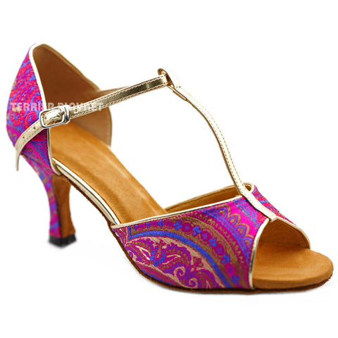 Light Gold & Hot Pink Embroidered  Women Dance Shoes D1231 UK5/US7.5/EU38 3 Inches / 7.5cm