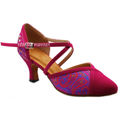 Hot Pink Embroidered  Women Dance Shoes D1232 UK5/US7.5/EU38 2.5 Inches / 6.25cm
