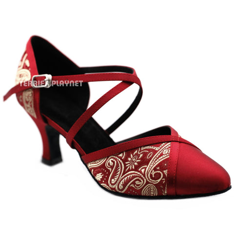 Champagne Gold & Deep Red Embroidered Women Dance Shoes D1233 UK3/US5.5/EU35.5 1 Inches/2.5cm Block Heel