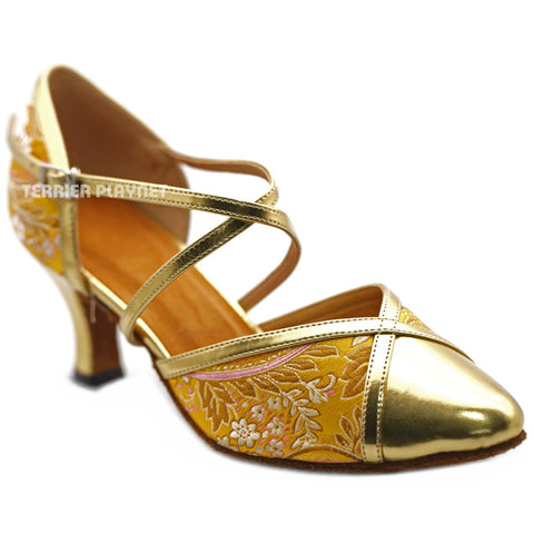 Golden Yellow Embroidered Women Dance Shoes D1236 UK5.5/US8/EU39 2.5Inches / 6.25cm