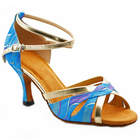 Gold & LIght Blue Embroidered Women Dance Shoes D1238
