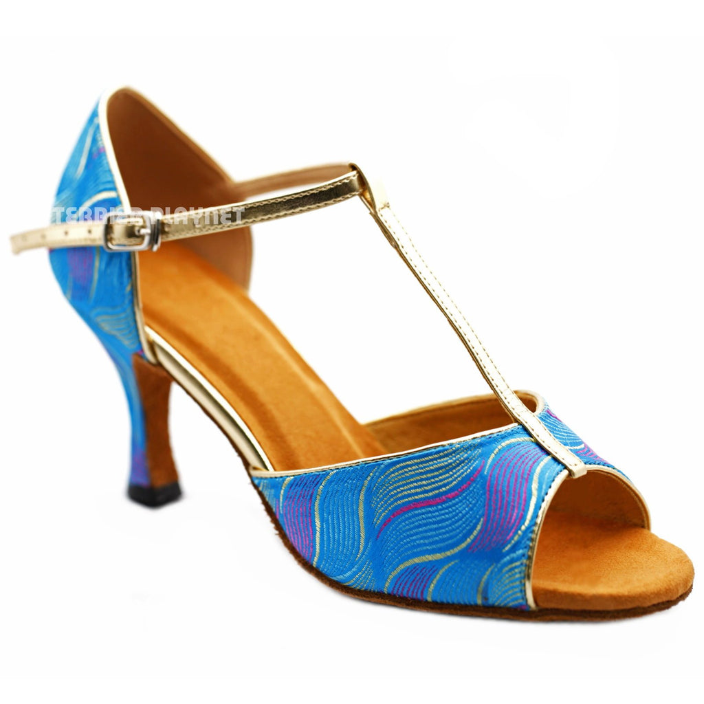 Light Gold & LIght Blue Embroidered  Women Dance Shoes D1239 UK5/US7.5/EU38 3Inches / 7.5cm - Terrier Playnet Shop