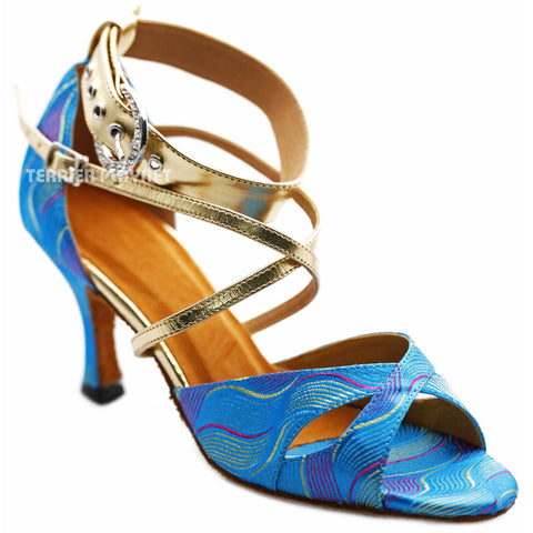 Light Gold & LIght Blue Embroidered  Women Dance Shoes D1240 UK5/US7.5/EU38 3Inches / 7.5cm