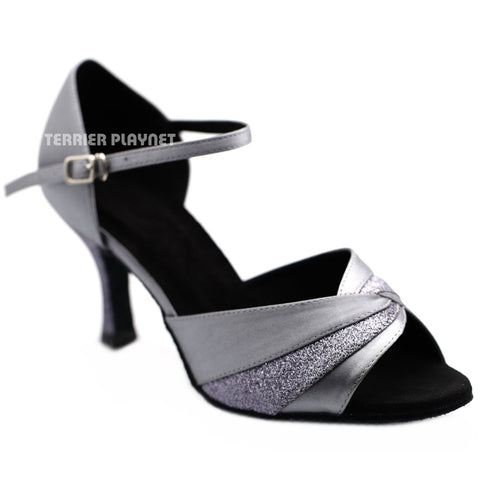 Silver Gray Women Dance Shoes D1245 UK5.5/US8/EU39 2.5 Inches/6.25cm Heel