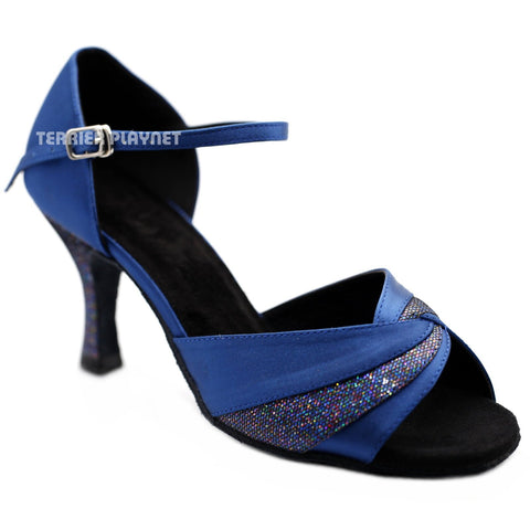 Blue Women Dance Shoes D1247 UK5.5/US8/EU39 3 Inches / 7.5cm
