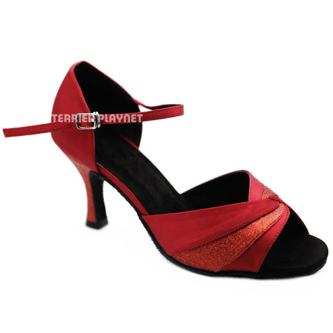 Red Women Dance Shoes D1248 UK5.5/US8/EU39 3 Inches / 7.5cm