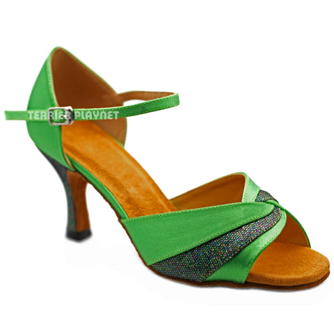 Green Women Dance Shoes D1250 UK5.5/US8/EU39 3 Inches / 7.5cm