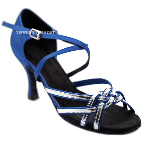Blue & Silver Women Dance Shoes D1251 UK6/US8.5/EU39.5 3 Inches / 7.5cm