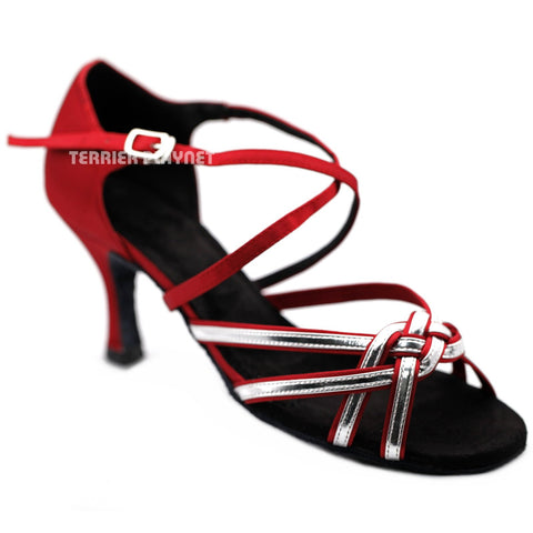 Deep Red & Silver Women Dance Shoes D1253 UK6/US8.5/EU39.5 3 Inches / 7.5cm