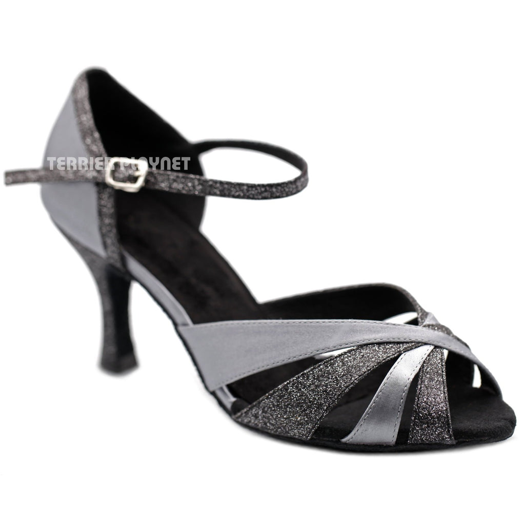 Silver Gray Women Dance Shoes D1258 UK5.5/US8/EU39 3 Inches / 7.5cm - Terrier Playnet Shop