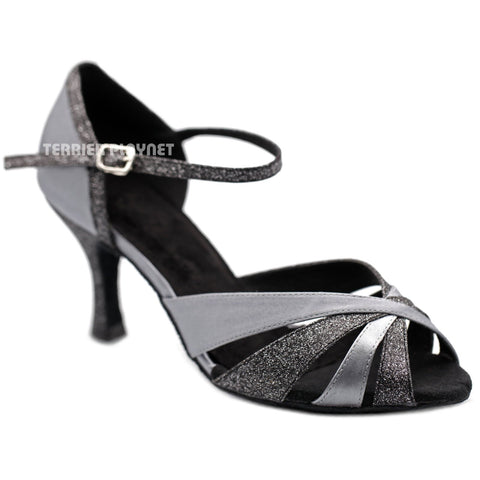 Silver Gray Women Dance Shoes D1258 UK5.5/US8/EU39 3 Inches / 7.5cm
