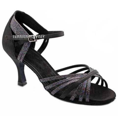 Black Women Dance Shoes D1260 UK5.5/US8/EU39 3 Inches / 7.5cm