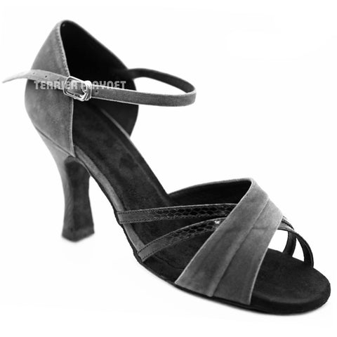 Black & Gray Women Dance Shoes D1261 UK5.5/US8/EU39 3.25 Inches / 8.25cm