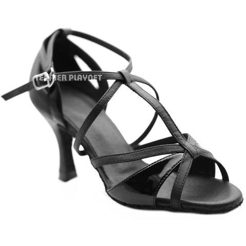 High Quality Black Leather Women Dance Shoes D1266