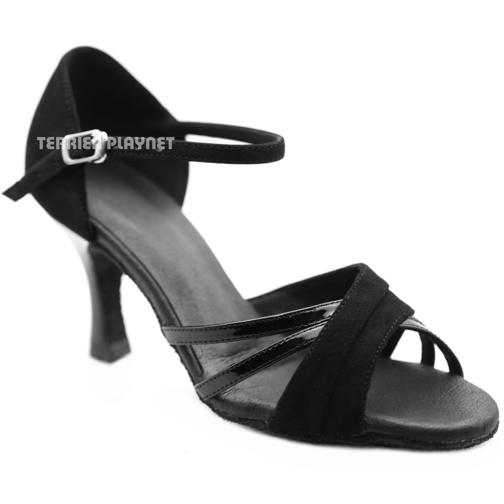 High Quality Black Leather Women Dance Shoes D1269 UK4/US6.5/EU37.5 3 Inches/7.5cm Heel - Terrier Playnet Shop