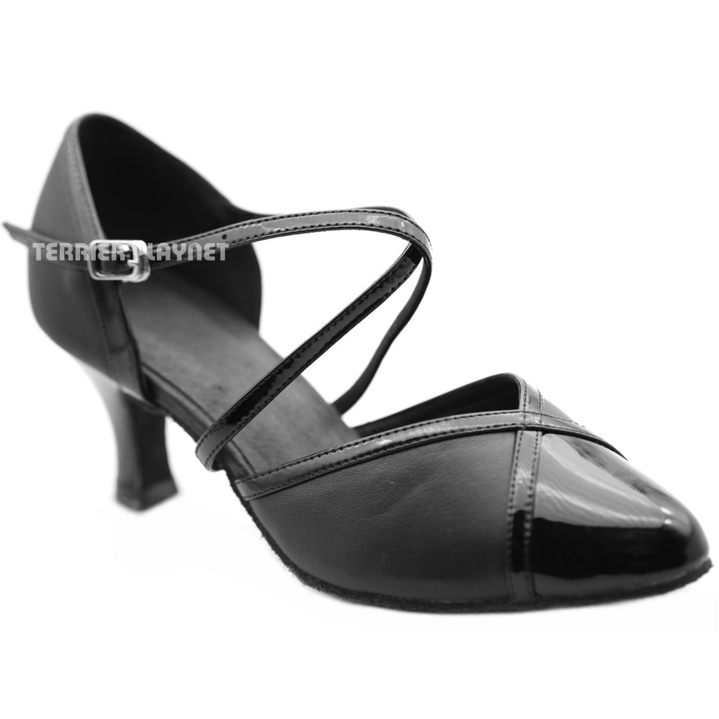 High Quality Black Leather Women Dance Shoes D1271 UK5.5/US8/EU39 2.5 Inches/6.25cm Heel
