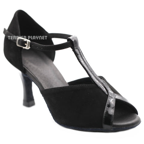 High Quality Black Leather Women Dance Shoes D1274