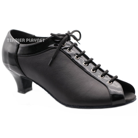 High Quality Black Leather Women Dance Shoes D1278