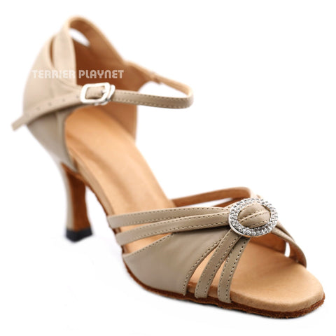 High Quality Flesh Leather Women Dance Shoes D1279 UK4/US6.5/EU37 3 Inches/7.5cm Heel