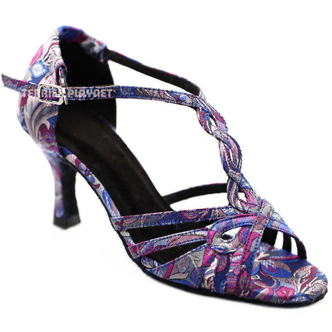 Blue & Purple Embroidered Women Dance Shoes D1281 UK4/US6.5/EU37 3 Inches/7.5cm Heel