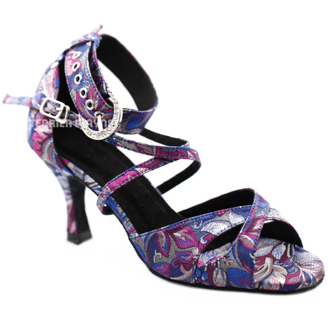 Blue & Purple Embroidered Women Dance Shoes D1283 UK4/US6.5/EU37 3 Inches/7.5cm Heel