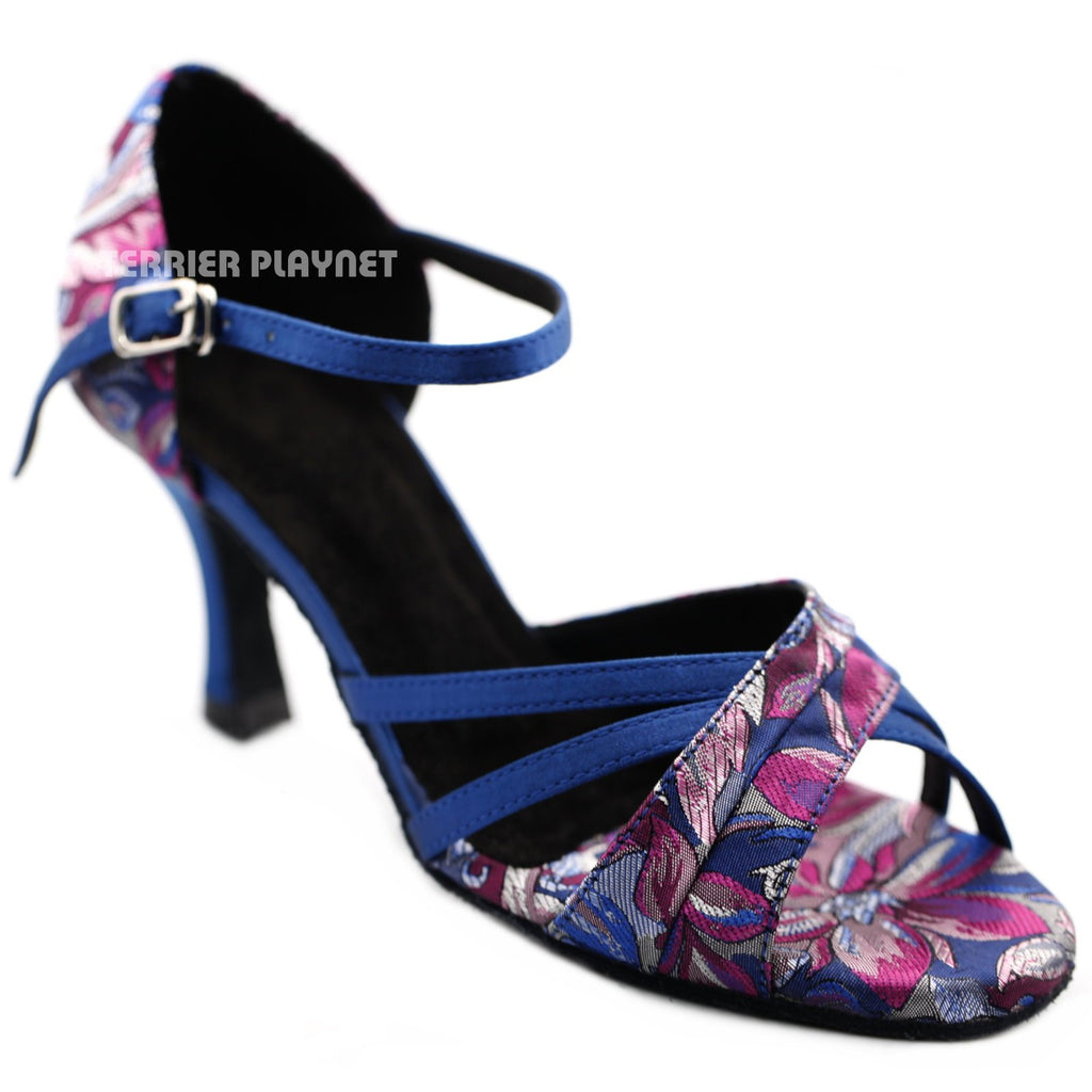 Blue & Purple Embroidered Women Dance Shoes D1285 UK3.5/US6/EU36 3 Inches/7.5cm Heel - Terrier Playnet Shop