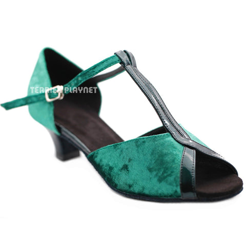 Green & Black Women Dance Shoes D1286 UK5.5/US8/EU39 2 Inches/ 5cm Heel