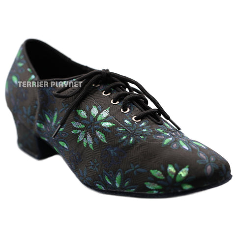 Black & Green Embroidered Women Dance Shoes D1290 UK6.5/US9/EU40 1.5 Inches/3.75cm Heel
