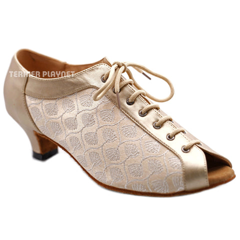 Champagne Gold & Flesh Women Dance Shoes D1293